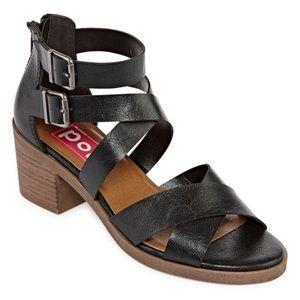 NIB POP Nicole Double Buckle Zip Back Heel Sandal